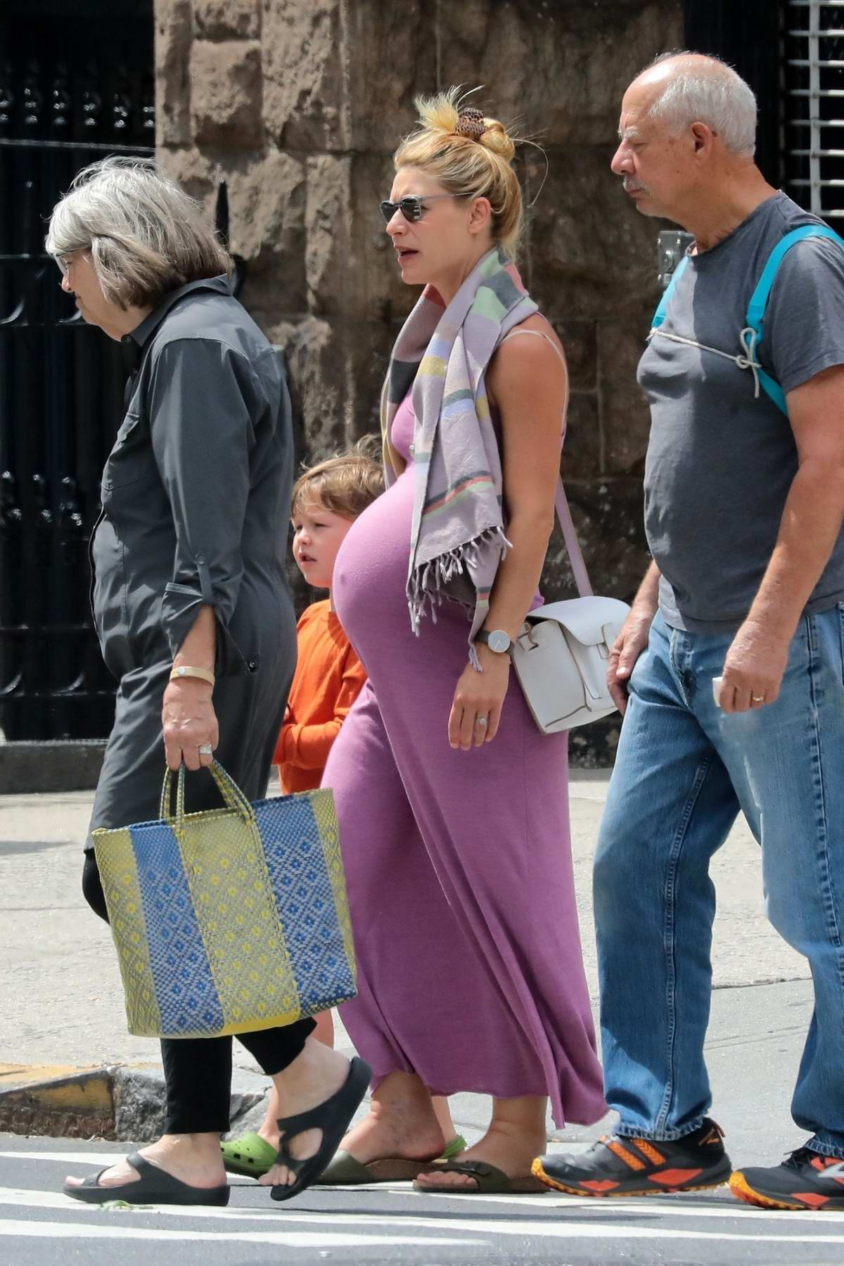 Claire Danes shows off her baby bump while out with her family in New York