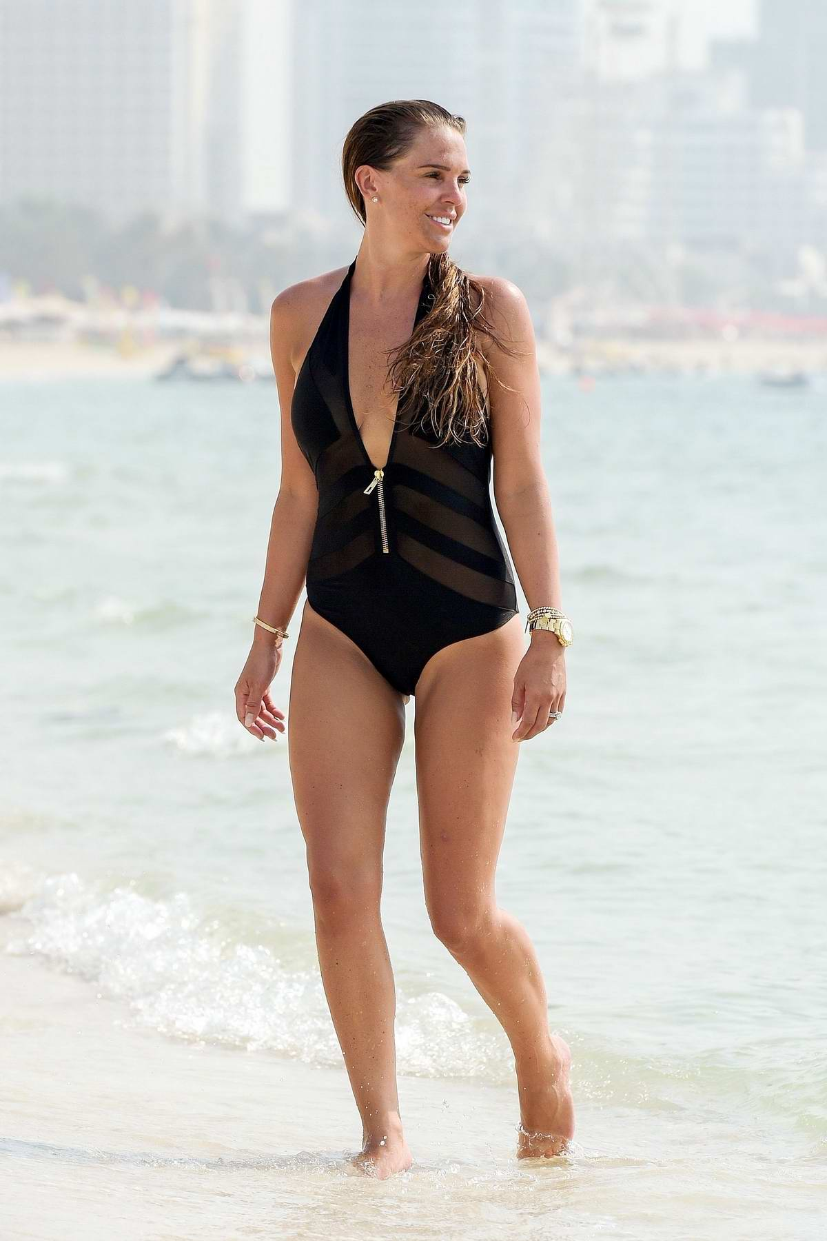 Danielle Lloyd hits the beach in black swimsuit during her holidays in Dubai
