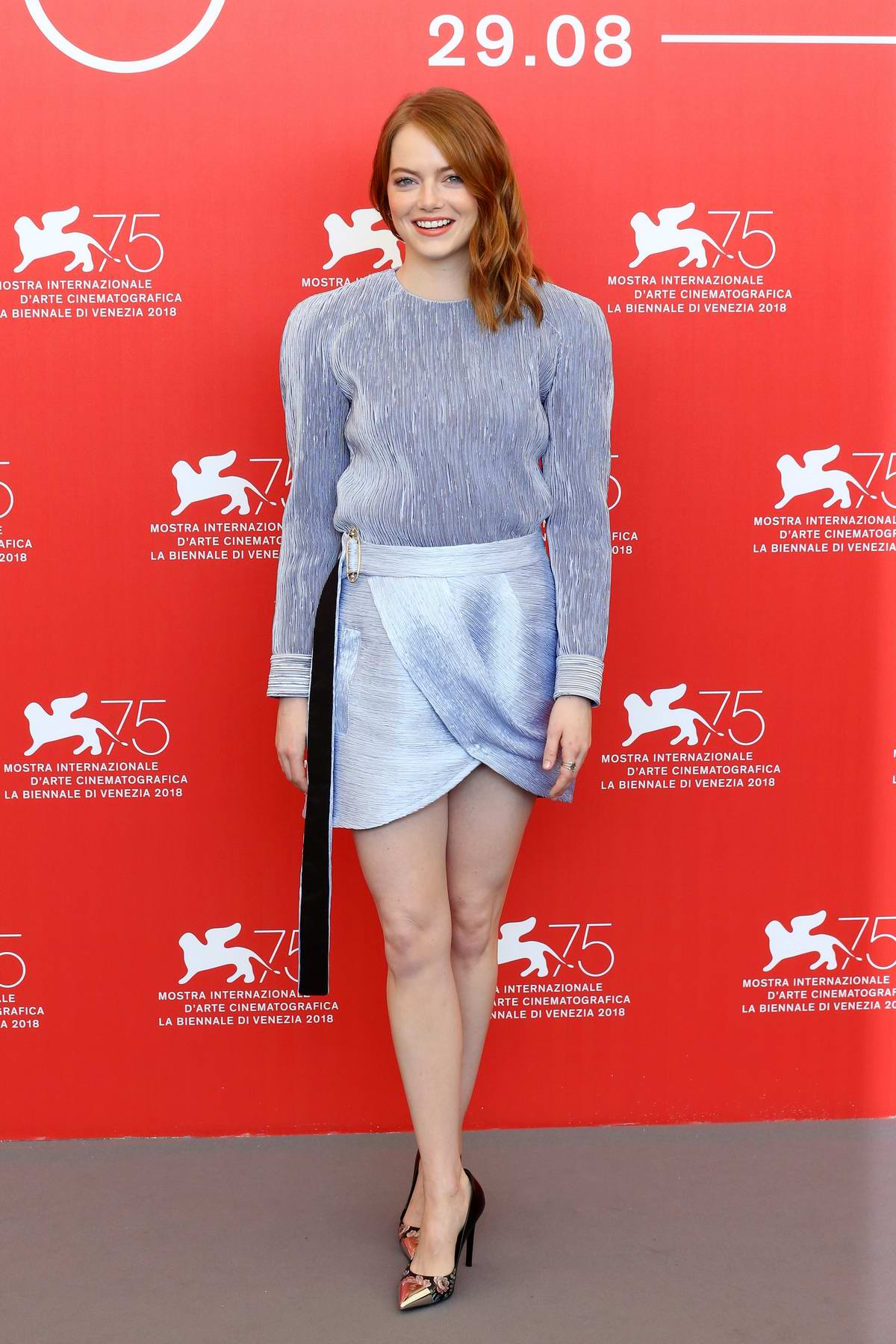 Emma Stone attends 'The Favourite' photocall during the 75th Venice Film Festival in Venice, Italy