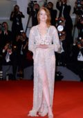Emma Stone attends 'The Favourite' premiere during 75th Venice Film Festival in Venice, Italy