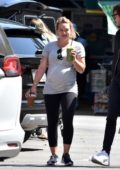 Hilary Duff grabbed an iced coffee and a smoothie before heading to a yoga class with boyfriend Matthew Koma in Los Angeles