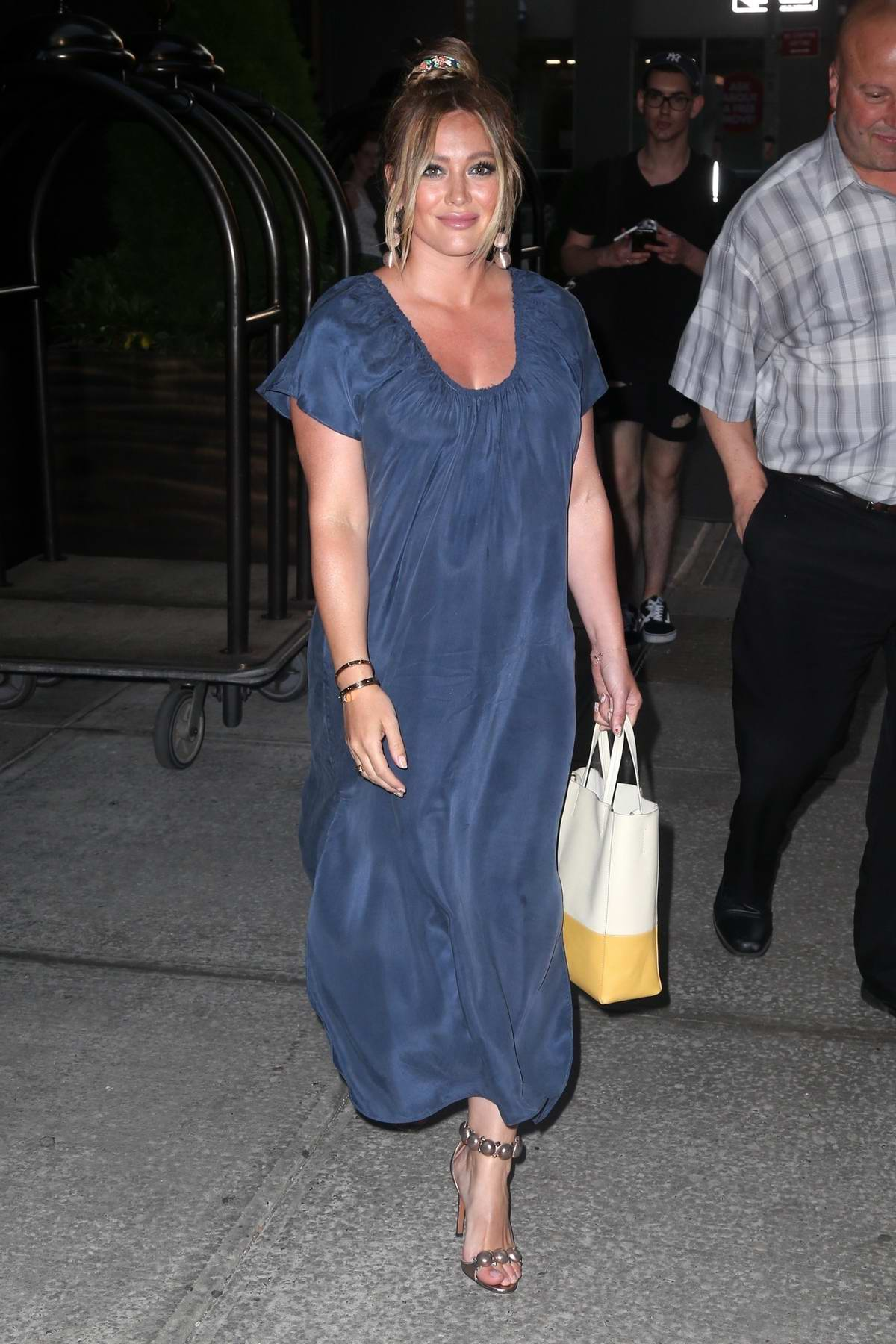 Hilary Duff wears blue dress as she leaves for the season finale party for 'Younger' in New York City