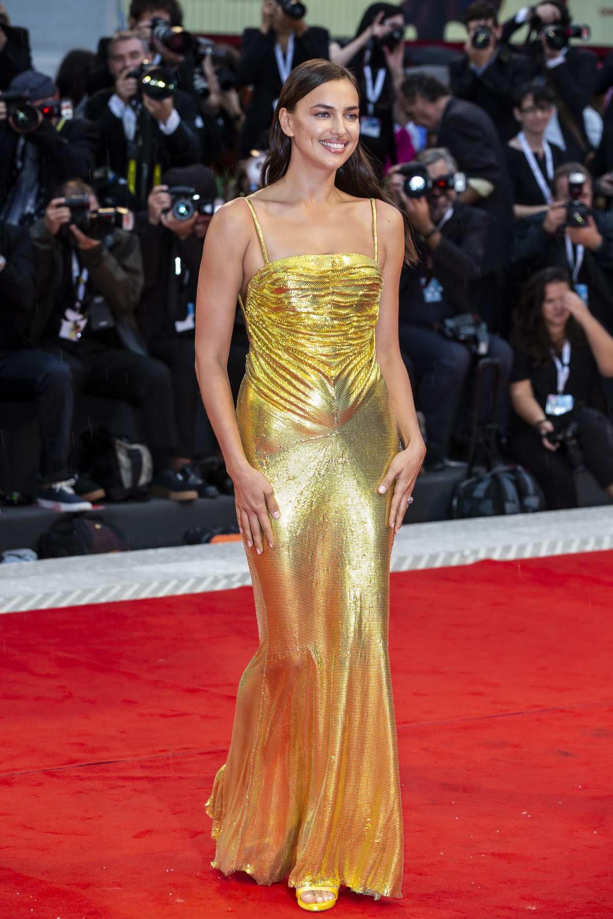 Irina Shayk and Donatella Versace attends 'A Star Is Born' premiere during the 75th Venice Film Festival in Venice, Italy