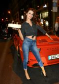 Isabeli Fontana celebrating her birthday in front of the restaurant Borchardt in Berlin, Germany