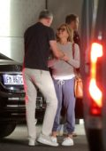 Jennifer Aniston seen giving a hug to a friend in Milan, Italy