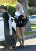 Julianne Hough spotted in a white tee and denim shorts as she leaves a friends house in Los Angeles