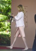 Kate Upton wears a light peach slit dress to lunch with Justin Verlander at the Beverly Hills Hotel in Los Angeles