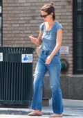 Katie Holmes keeps it casual in a blue t-shirt and blue jeans while picking up lunch to go in New York City