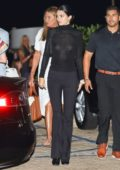 Kendall Jenner spotted in a sheer black top after dinner with Caitlyn Jenner at Nobu in Los Angeles