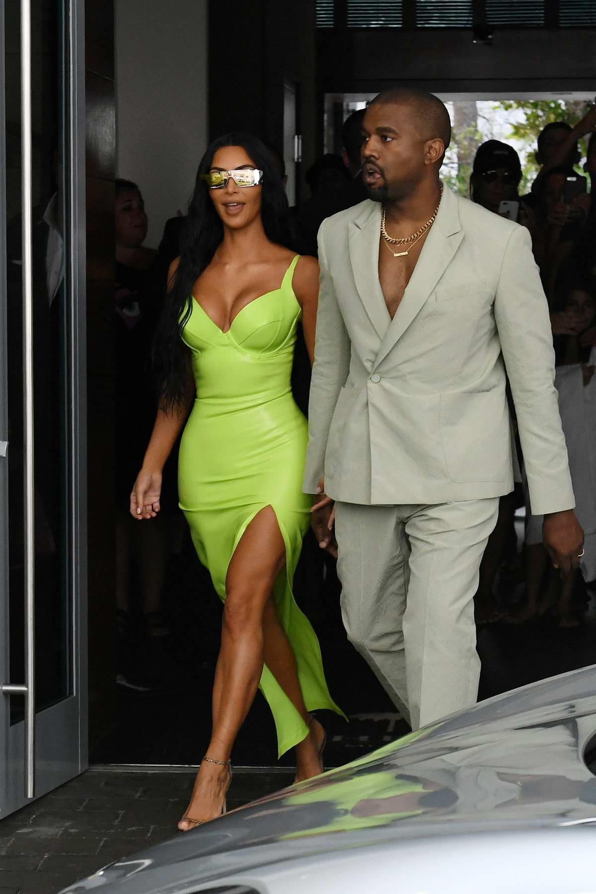 Kim Kardashian and Kanye West arrives at 2-Chainz's wedding in Miami, Florida