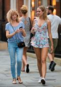 Kimberley Garner wore a floral playsuit while out with her mother in London, UK
