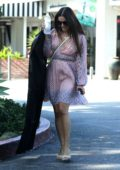 Lea Michele spotted in a patterned pink dress after shopping at Switch in Beverly Hills, Los Angeles