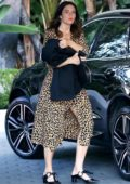 Mandy Moore seen wearing a leopard print dress for a meeting at the Sunset Towers Hotel in Hollywood, Los Angeles