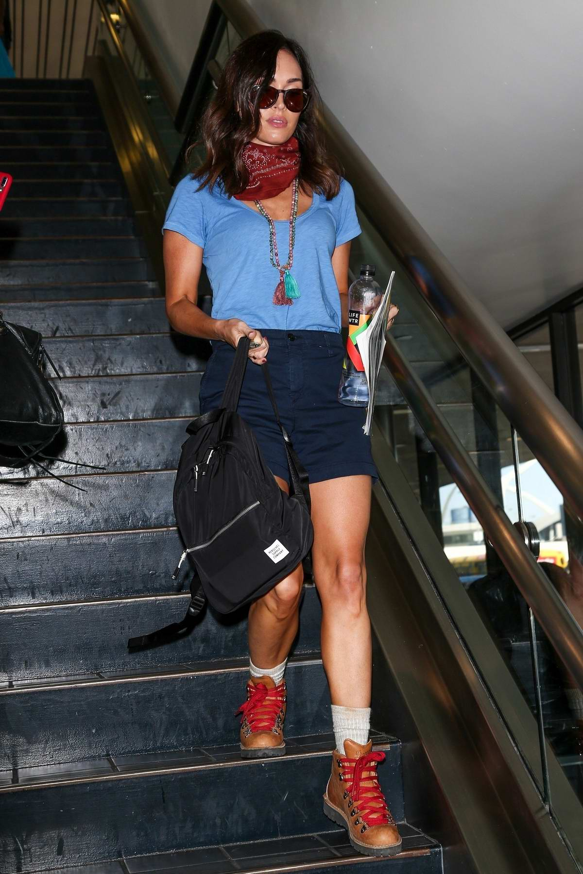 Megan Fox seen arriving on a flight at LAX airport in Los Angeles