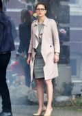 Melissa Benoist spotted while filming a scene on the set of 'Supergirl' in Vancouver, Canada