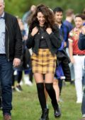 Michelle Keegan spotted in a yellow plaid skirt and black denim jacket while filming 'Brassic' TV show in London, UK