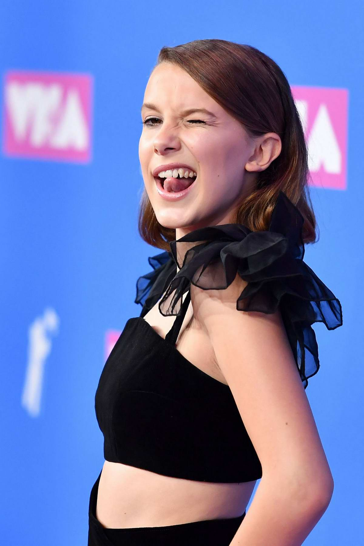 Millie Bobby Brown attends 2018 MTV Video Music Awards (MTV VMA 2018) at Radio City Music Hall in New York City