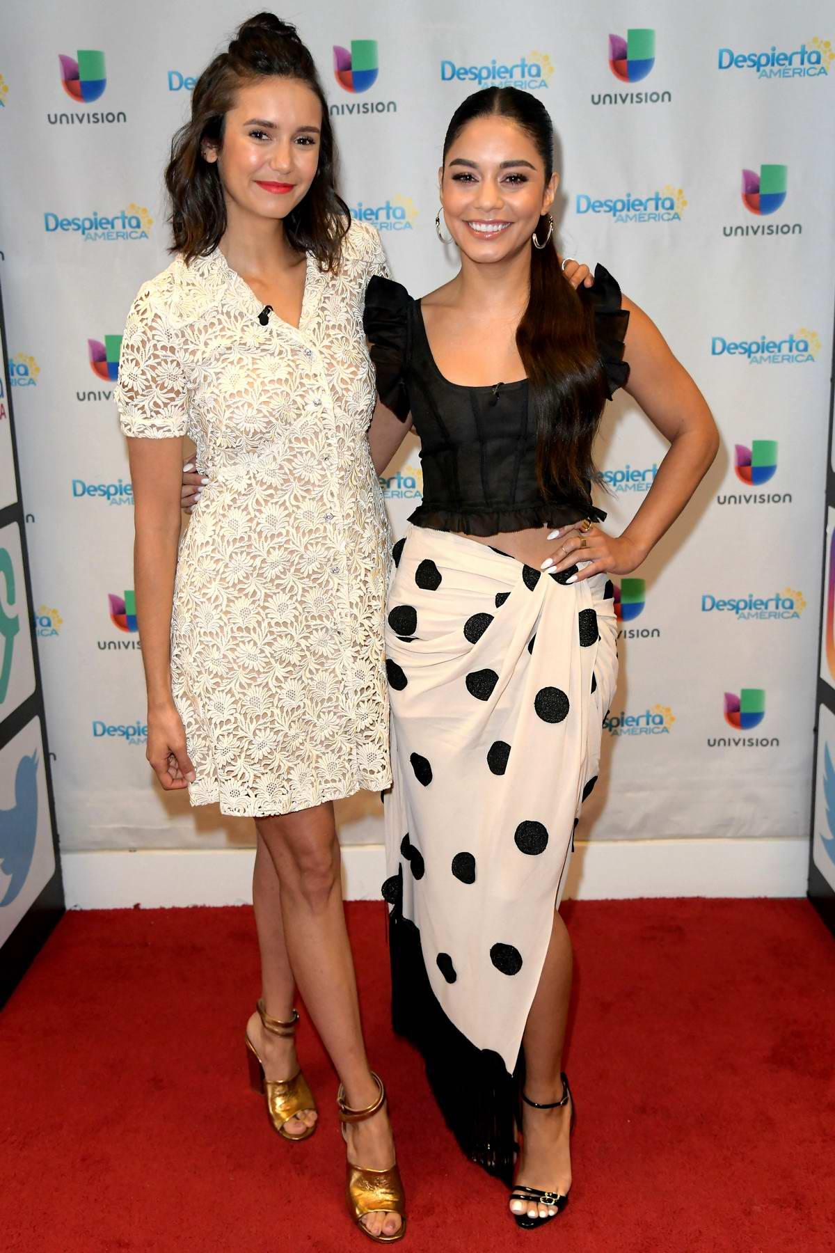 Nina Dobrev and Vanessa Hudgens makes an appearance on 'Despierta America' TV show in Miami, Florida