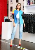 Olivia Culpo models AWAYTOMARS x Froot Loops Capsule Collection at the Kellogg's NYC Cafe Trunk Show in New York City