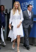 Petra Nemcova looks perfect in an all while ensemble visiting Good Morning America in New York City
