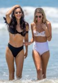 Rachel McCord spotted in a white bikini during a beach day with her friend Eva Pepaj in Santa Monica, California