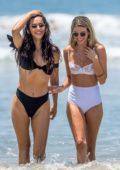 Rachel McCord spotted in a white bikini during a beach day with her friend Eva Pepaj in Santa Monica, California