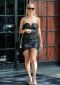 Renata Szalai spotted in a short black leather dress outside The Bowery Hotel in New York City