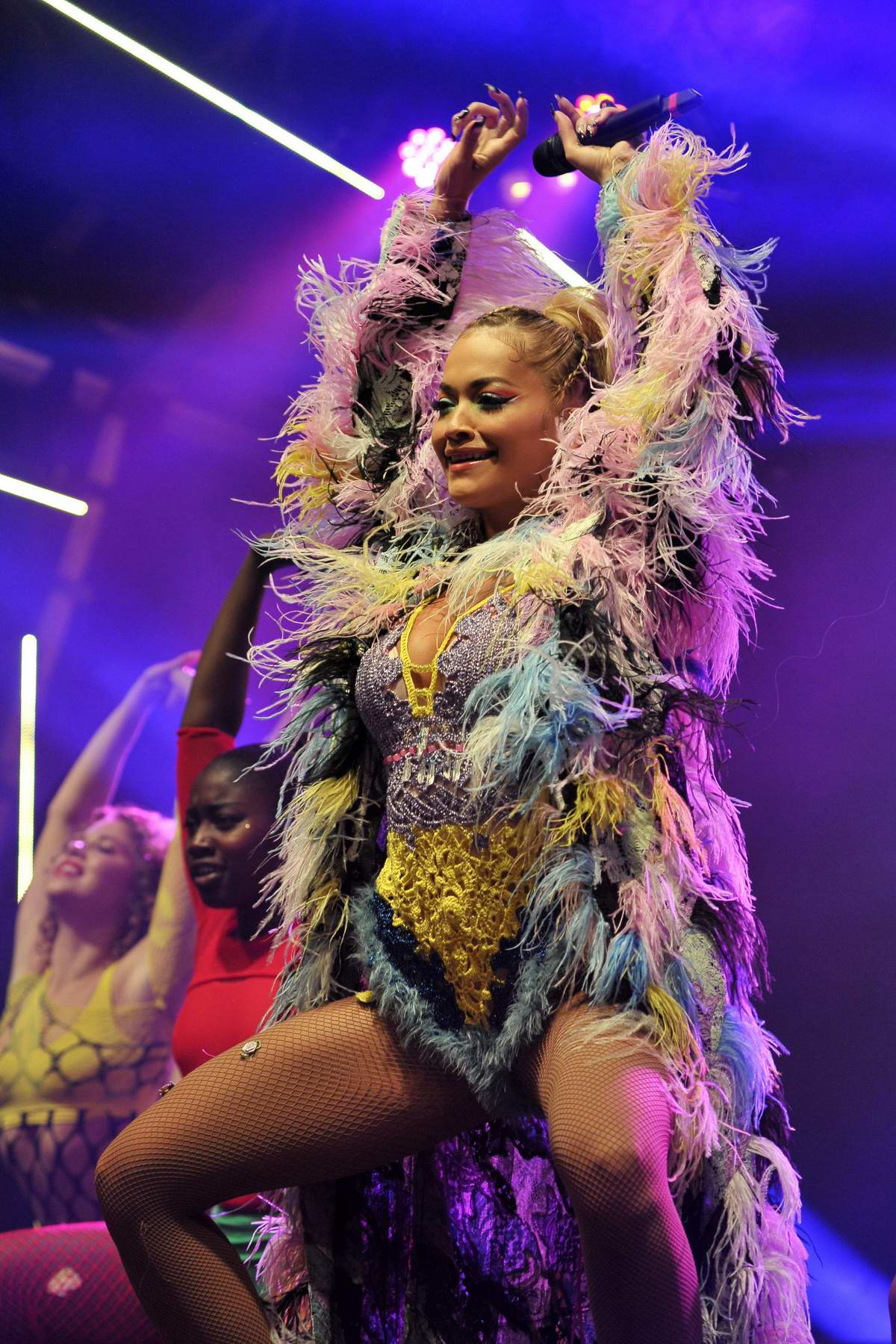 Rita Ora performs live onstage during 2018 Manchester Pride Parade in Manchester,UK