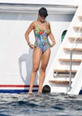 Rita Ora seen wearing a colorful swimsuit while on a yacht with Jordan Barrett and Andrew Watt in Olbia, Italy