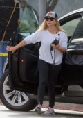 Sarah Michelle Gellar rocked a baseball cap with white sweatshirt and black leggings as she arrived at the gym in Los Angeles