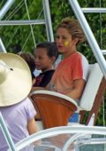 Shakira wearing clown makeup for a private boat party with her kids in Miami beach, Florida