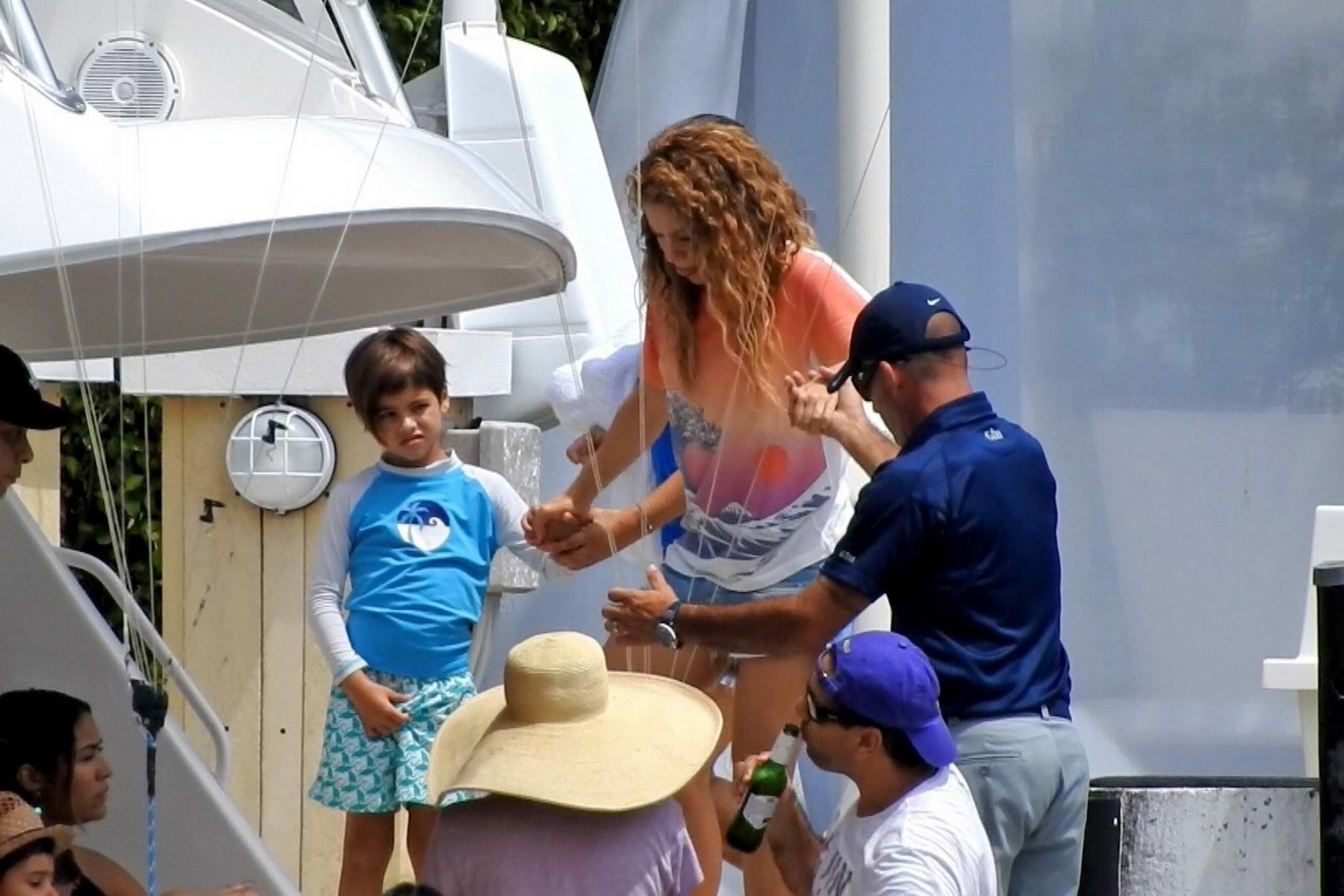 shakira wearing clown makeup for a private boat party with her kids in miami beach, florida-200818_6
