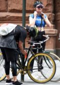 Sophie Turner leaves the gym on a bicycle in New York City