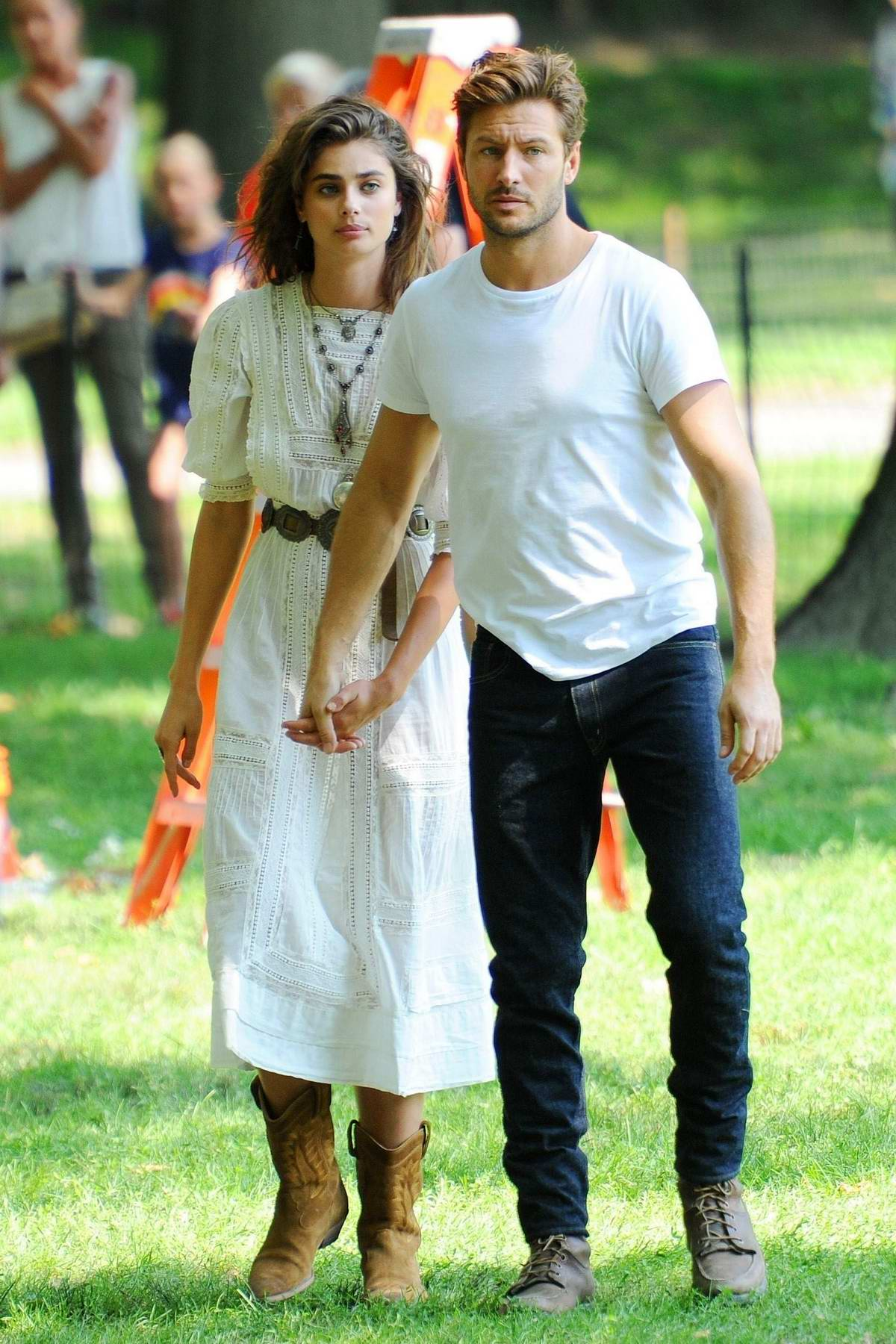 Taylor Hill and boyfriend Michael Stephen Shank spotted while filming a perfume commercial in Central Park, New York City