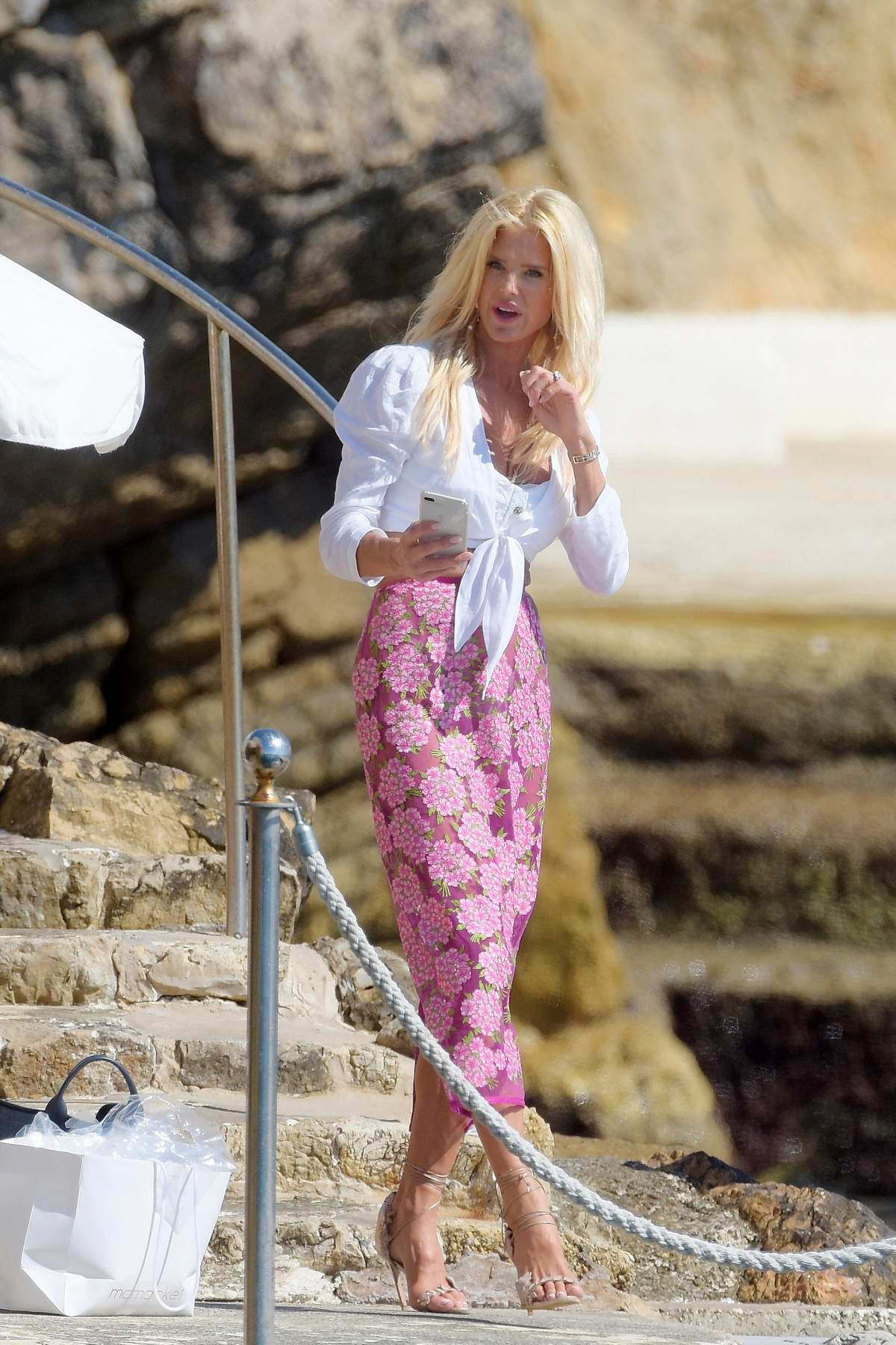 Victoria Silvstedt enjoying the day with her mother at Hotel du Cap-Eden-Roc in Antibes, France