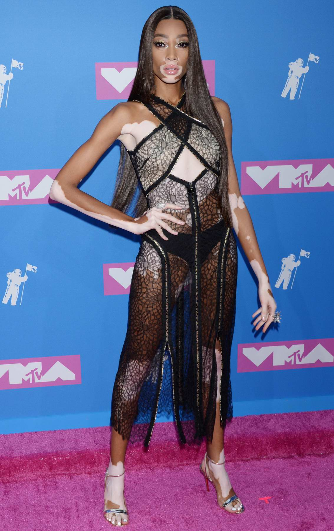Winnie Harlow wearing Sonia Rykel at the 2018 MTV Video Music Awards (MTV VMA 2018) at Radio City Music Hall in New York City
