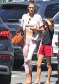 Alessandra Ambrosio sports a pink crop top with matching cardigan and leggings while shopping groceries at Whole Foods with her kids in Brentwood, Los Angeles