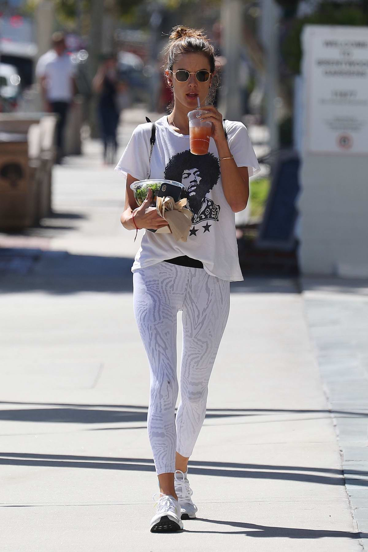Alessandra Ambrosio visits a salon before stopping by at Sweetgreen for a salad and juice while out in Los Angeles