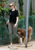 Amanda Seyfried wears a black tee and leggings as she enjoys a hike with her dog on Labor Day weekend in Los Angeles