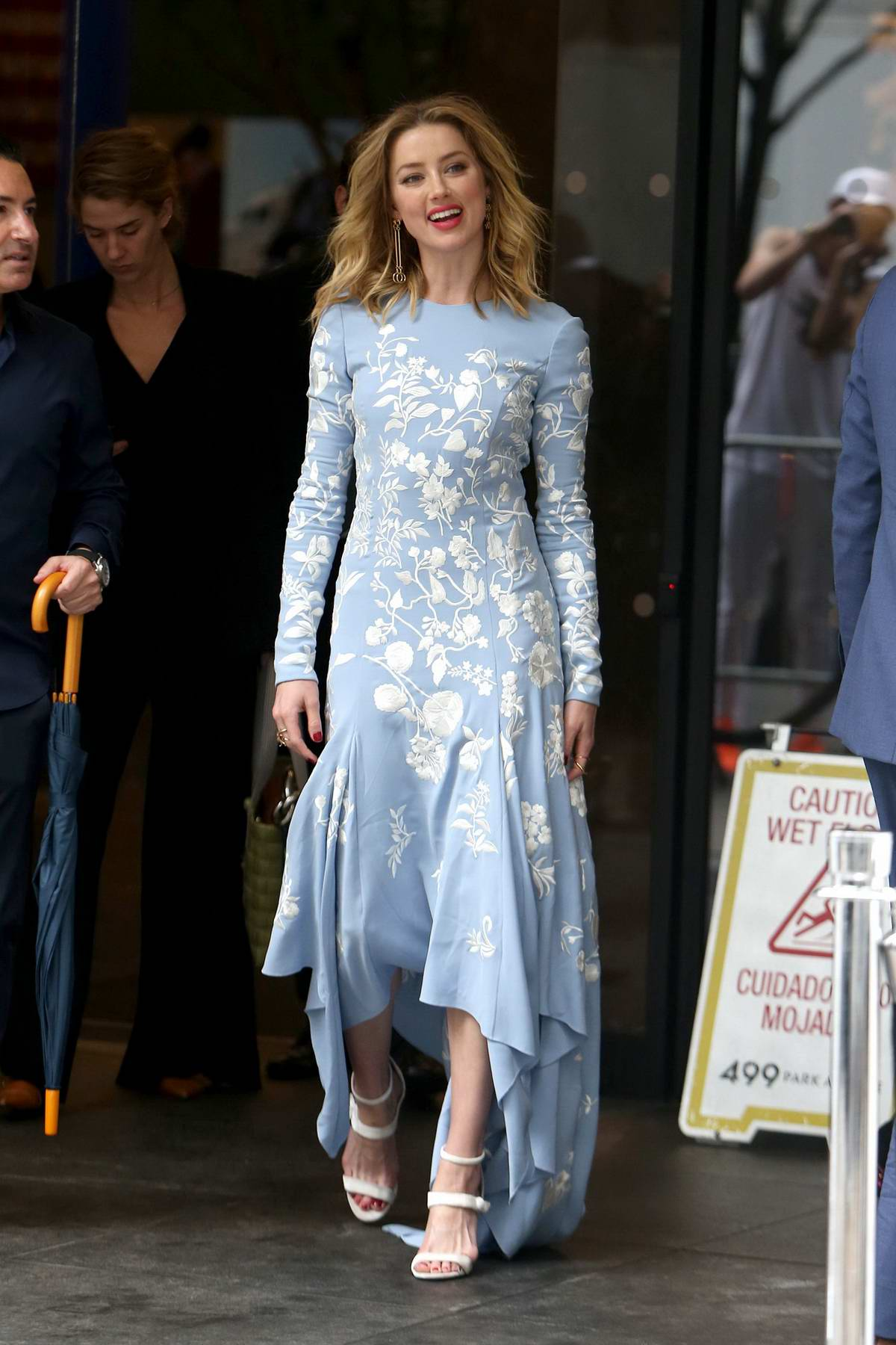 Amber Heard steps out in a baby blue dress to supports Cantor Charity Day on 9/11 in New York City