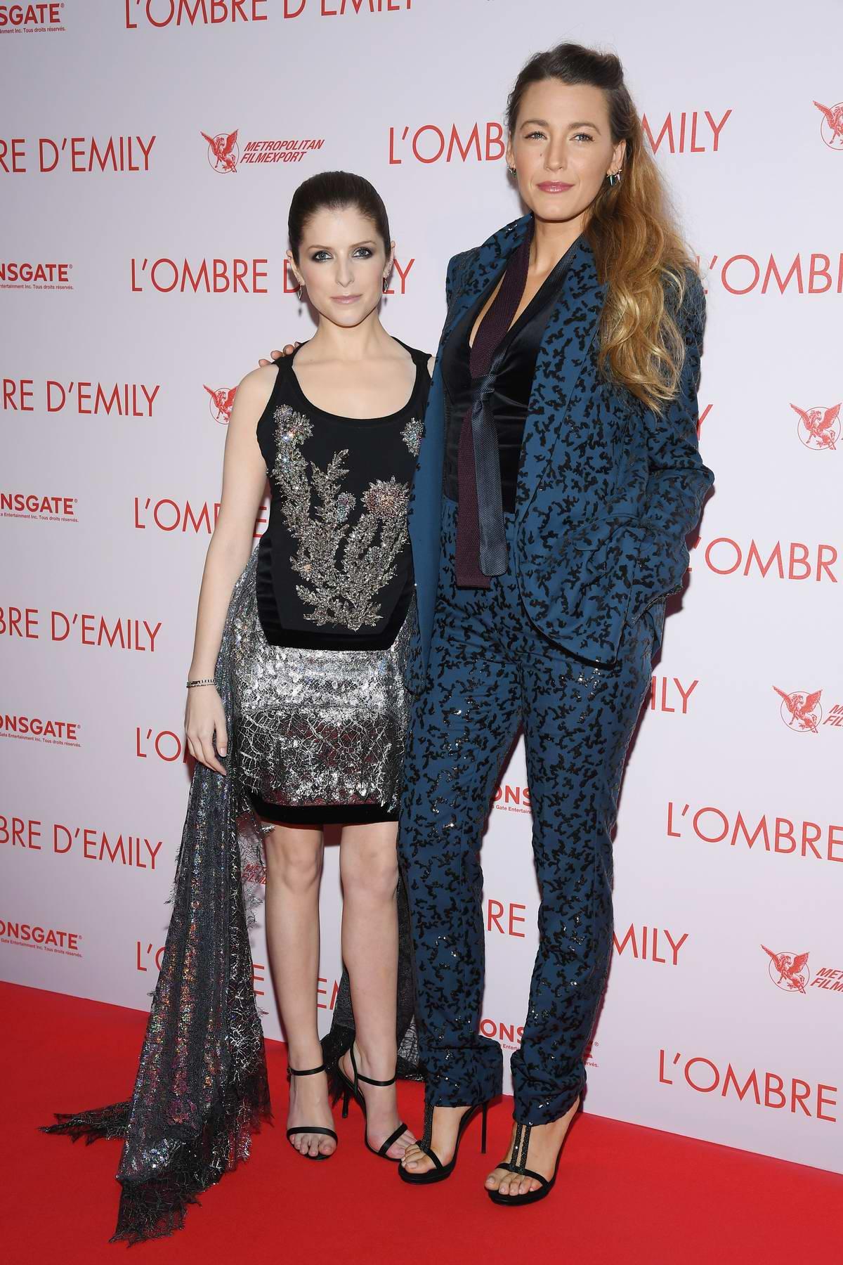 Anna Kendrick and Blake Lively attends 'L'Ombre D'Emilie - A Simple Favor' Paris Premiere at UGC Normandie in Paris, France