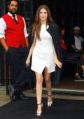 Anna Kendrick looks elegant in her classic white minidress while heading out promote her new film 'A Simple Favor' in New York City