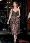 Anna Kendrick wore a floral print dress as she heads our for Dinner in New York City