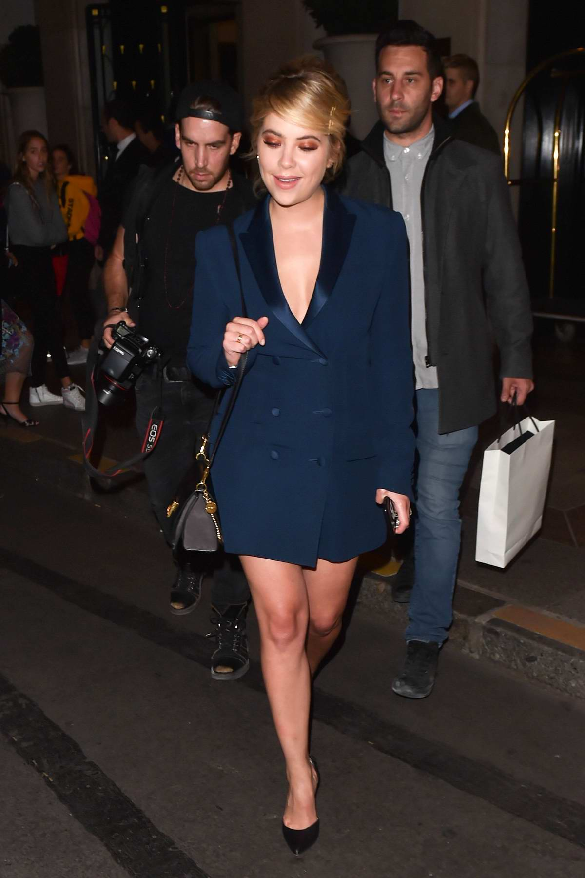 Ashley Benson is seen leaving Palace Hotel in Paris, France