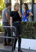 Ashley Benson sports an all black look as she grabs a coffee at the Coffee Bean in West Hollywood, Los Angeles