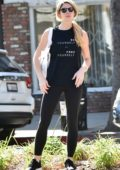 Ashley Greene rocks 'Be Yourself, Free Yourself' tank top and black leggings as she steps out in Los Angeles