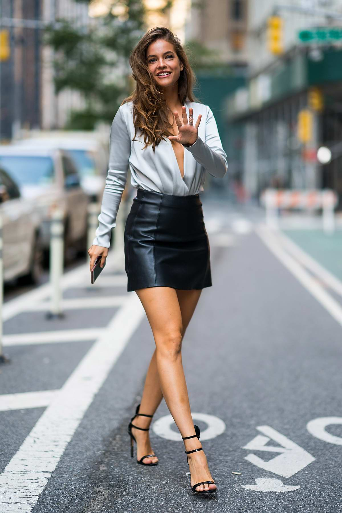 453929d71 Barbara Palvin seen wearing white silk top with black leather miniskirt  while visiting Victoria's Secret headquarters in New York City