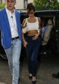 Bella Hadid arrives to Fendi fittings during Milan Fashion Week in Milan, Italy