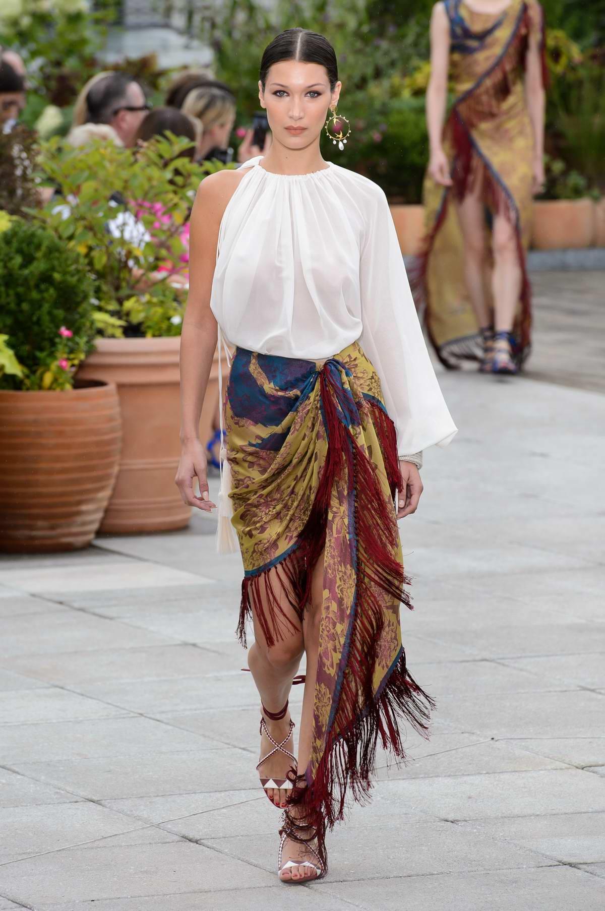 Bella Hadid walks the runway at the Oscar de la Renta Fashion Show, Spring/Summer 2018 during New York Fashion Week in New York City