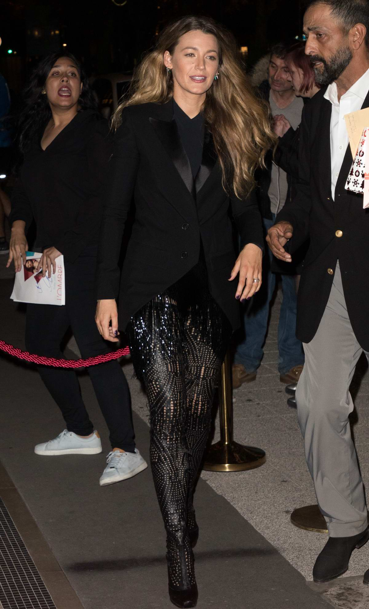 Blake Lively rocks an all black ensemble as she heads for a night out in Paris, France